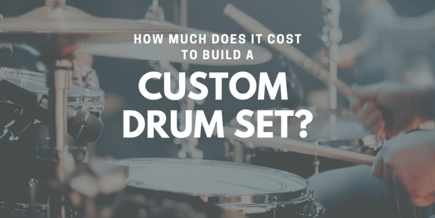 """A title slide with a picture of a drummer playing drums. The text says """"How much does it cost to build a custom drum set?"""""""