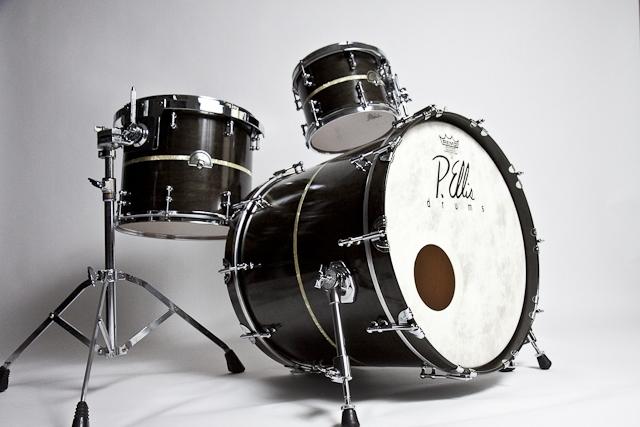 Black stain inlay custom drum set high gloss