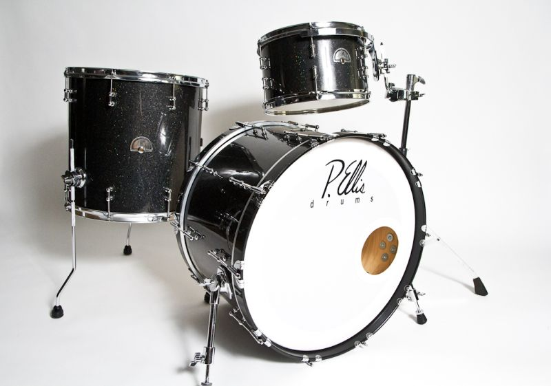 P.Ellis Custom Drum Set Black Sparkle Tube Lugs