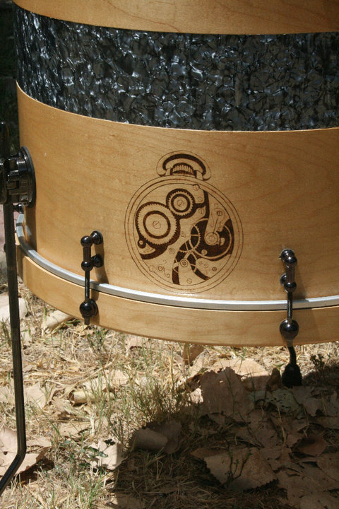 20 inch floor tom with black pearl inlay and wood burning