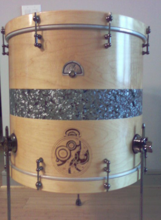 Completed 20 inch custom bass drum shell made into a floor tom