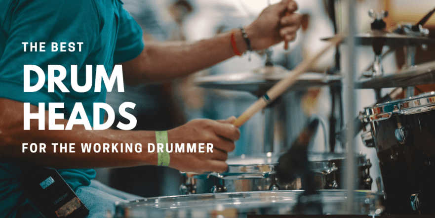 """A title slide with a picture of a drummer playing drums. The text says """"The best drum heads for the working drummer""""."""