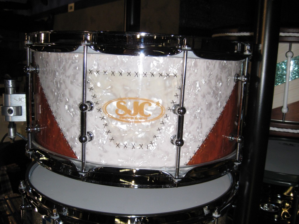 Hand sewn SJC stitched wrap snare drum