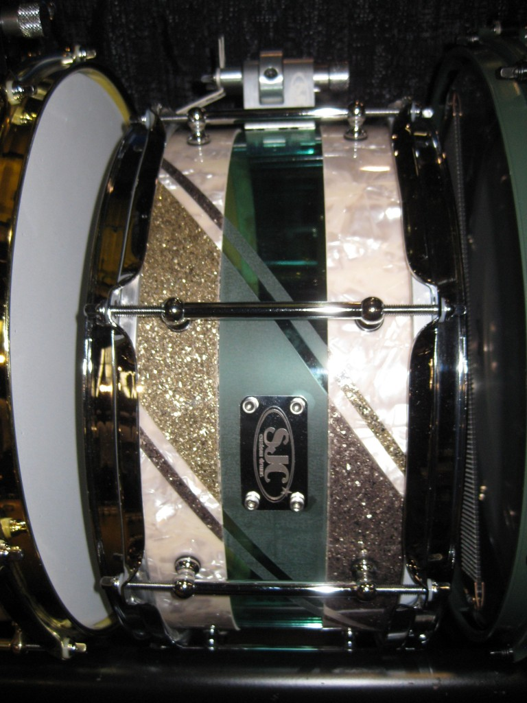 SJC Hybrid snare drum with frosted acrylic