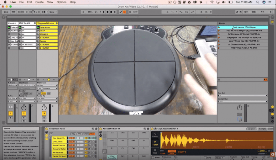 A screen capture from a video about how to use ableton live to trigger drum sounds live.